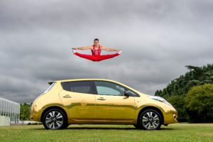Nissan Ambassador Max Whitlock receives his gold all-electric Nissan LEAF to celebrate his double gold medal success at the Rio 2016 Games.